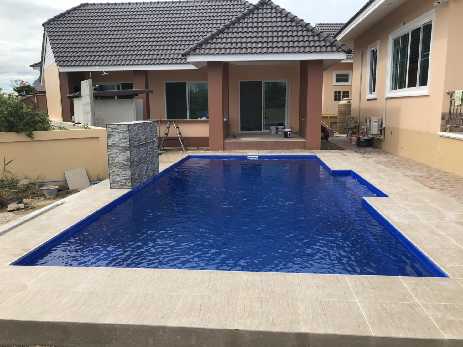 swimming pool with pump house